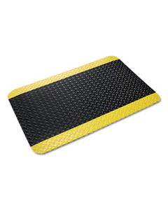 CWNCD0035YB INDUSTRIAL DECK PLATE ANTI-FATIGUE MAT, VINYL, 36 X 60, BLACK/YELLOW BORDER