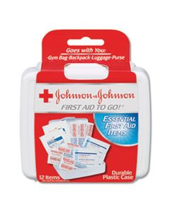 JOJ8295 MINI FIRST AID TO GO KIT, 12-PIECES, PLASTIC CASE