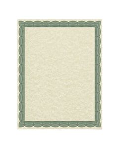 SOU91341 PARCHMENT CERTIFICATES, TRADITIONAL, 8 1/2 X 11, IVORY W/ GREEN BORDER, 50/PACK