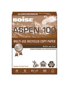 CAS054922 ASPEN MULTI-USE RECYCLED PAPER, 92 BRIGHT, 20LB, 8.5 X 11, WHITE, 500 SHEETS/REAM, 10 REAMS/CARTON