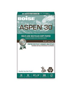 CAS054904 ASPEN 30 MULTI-USE RECYCLED PAPER, 92 BRIGHT, 20LB, 8.5 X 14, WHITE, 500 SHEETS/REAM, 10 REAMS/CARTON