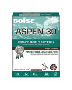 CAS054901P ASPEN 30 MULTI-USE RECYCLED PAPER, 92 BRIGHT, 3-HOLE, 20LB, 8.5 X 11, WHITE, 500 SHEETS/REAM, 10 REAMS/CARTON