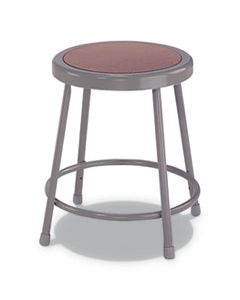 "ALEIS6618G INDUSTRIAL METAL SHOP STOOL, 18"" SEAT HEIGHT, SUPPORTS UP TO 300 LBS., BROWN SEAT/GRAY BACK, GRAY BASE"