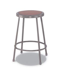 "ALEIS6624G INDUSTRIAL METAL SHOP STOOL, 24"" SEAT HEIGHT, SUPPORTS UP TO 300 LBS., BROWN SEAT/GRAY BACK, GRAY BASE"