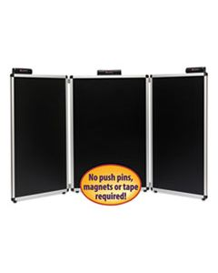 """SMD02590 JUSTICK THREE-PANEL ELECTRO-SURFACE TABLE-TOP EXPO DISPLAY, 72"""" X 36"""", BLACK"""