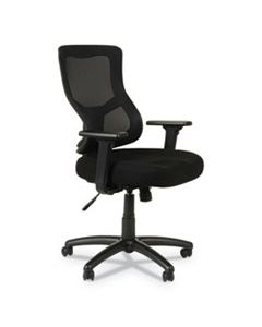 ALEELT4214S ALERA ELUSION II SERIES MESH MID-BACK SYNCHRO WITH SEAT SLIDE CHAIR, SUPPORTS UP TO 275 LBS., BLACK SEAT/BACK, BLACK BASE