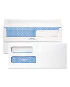 QUA24559 DOUBLE WINDOW REDI-SEAL SECURITY-TINTED ENVELOPE, #10, COMMERCIAL FLAP, REDI-SEAL CLOSURE, 4.13 X 9.5, WHITE, 500/BOX