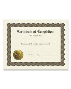 COS930400 READY-TO-USE CERTIFICATES, 11 X 8.5, IVORY/BROWN, COMPLETION, 6/PACK