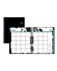 BLS100004 BARCELONA MONTHLY PLANNER, 10 X 8, BLACK COVER, 2020