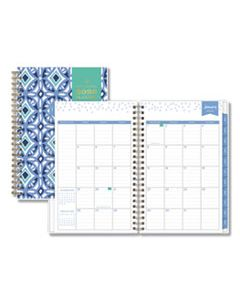 BLS101410 DAY DESIGNER TILE WEEKLY/MONTHLY PLANNER, 8 X 5, BLUE/WHITE COVER, 2020