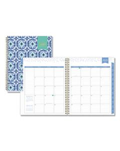 BLS101411 DAY DESIGNER TILE WEEKLY/MONTHLY PLANNER, 11 X 8 1/2, BLUE/WHITE COVER, 2020