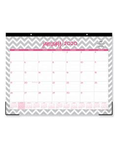 BLS102137 DABNEY LEE OLLIE DESK PAD, 22 X 17, GRAY/PINK, CLEAR CORNERS, 2020