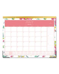 BLS107938 DAY DESIGNER ACADEMIC YEAR DESK PAD, 22 X 17, WHITE FLORAL, 2019-2020
