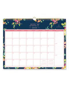 BLS107934 DAY DESIGNER ACADEMIC YEAR WALL CALENDAR, 15 X 12, NAVY/FLORAL, 2019-2020