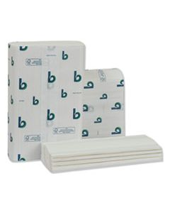 BWK6204 STRUCTURED MULTIFOLD TOWELS, 1-PLY, 9 X 9.5, WHITE, 250/PACK, 16 PACKS/CARTON