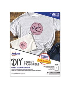 AVE3275 FABRIC TRANSFERS, 8.5 X 11, WHITE, 12/PACK