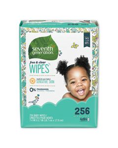 SEV34219CT FREE & CLEAR BABY WIPES, REFILL, UNSCENTED, WHITE, 256/PK, 3 PK/CT