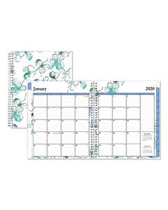 BLS101582 LINDLEY MONTHLY WIREBOUND PLANNER, 10 X 8, WHITE/BLUE, 2019-2020