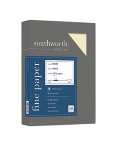 SOUJD18IC 100% COTTON BUSINESS PAPER, 32 LB, 8.5 X 11, IVORY, 250/PACK
