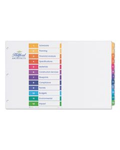 AVE11149 CUSTOMIZABLE TOC READY INDEX MULTICOLOR DIVIDERS, 12-TAB, 11 X 17