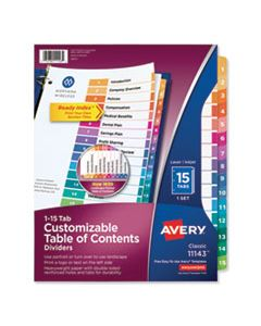 AVE11143 CUSTOMIZABLE TOC READY INDEX MULTICOLOR DIVIDERS, 15-TAB, LETTER