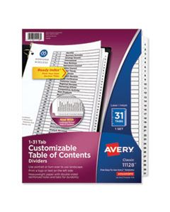 AVE11128 CUSTOMIZABLE TOC READY INDEX BLACK AND WHITE DIVIDERS, 31-TAB, LETTER