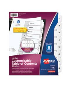 AVE11132 CUSTOMIZABLE TOC READY INDEX BLACK AND WHITE DIVIDERS, 8-TAB, LETTER