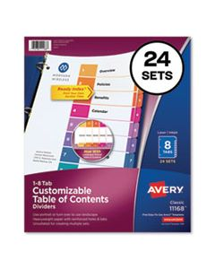 AVE11168 CUSTOMIZABLE TOC READY INDEX MULTICOLOR DIVIDERS, 8-TAB, LETTER, 24 SETS
