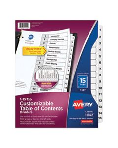 AVE11142 CUSTOMIZABLE TOC READY INDEX BLACK AND WHITE DIVIDERS, 15-TAB, LETTER