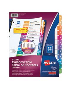 AVE11141 CUSTOMIZABLE TOC READY INDEX MULTICOLOR DIVIDERS, 12-TAB, LETTER