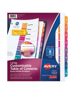 AVE11163 CUSTOMIZABLE TOC READY INDEX MULTICOLOR DIVIDERS, 8-TAB, LETTER
