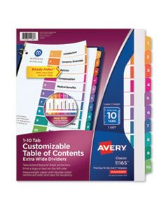AVE11165 CUSTOMIZABLE TOC READY INDEX MULTICOLOR DIVIDERS, 10-TAB, LETTER
