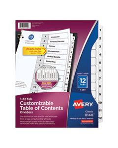 AVE11140 CUSTOMIZABLE TOC READY INDEX BLACK AND WHITE DIVIDERS, 12-TAB, LETTER