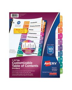 AVE11135 CUSTOMIZABLE TOC READY INDEX MULTICOLOR DIVIDERS, 10-TAB, LETTER