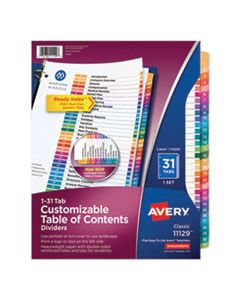 AVE11129 CUSTOMIZABLE TOC READY INDEX MULTICOLOR DIVIDERS, 31-TAB, LETTER