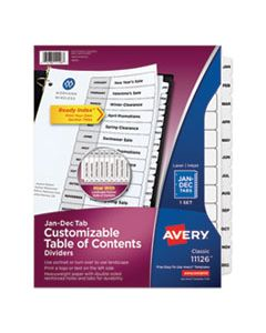 AVE11126 CUSTOMIZABLE TOC READY INDEX BLACK AND WHITE DIVIDERS, 12-TAB, LETTER