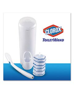 CLO03191 TOILET WAND DISPOSABLE TOILET CLEANING KIT: HANDLE, CADDY & REFILLS, WHITE