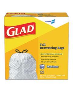"CLO78526 TALL KITCHEN DRAWSTRING TRASH BAGS, 13 GAL, 0.95 MIL, 24"" X 27.38"", GRAY, 100/BOX"
