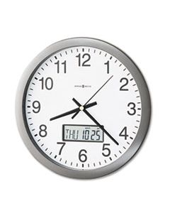 "MIL625195 CHRONICLE WALL CLOCK WITH LCD INSET, 14"" OVERALL DIAMETER, GRAY CASE, 1 AA (SOLD SEPARATELY)"
