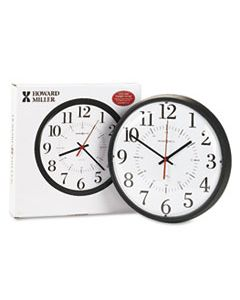 "MIL625323 ALTON AUTO DAYLIGHT SAVINGS WALL CLOCK, 14"" OVERALL DIAMETER, BLACK CASE, 1 AA (SOLD SEPARATELY)"
