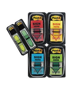 "MMM680SH4VA ARROW MESSAGE 1"" PAGE FLAGS, 200 ""SIGN HERE"", 48 ARROW, FOUR COLORS, 248/PACK"