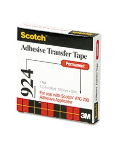 """MMM92412 ADHESIVE TRANSFER TAPE, 1/2"""" WIDE X 36YDS"""