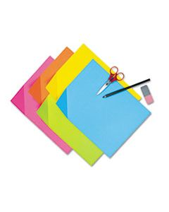 PAC1709 COLORWAVE SUPER BRIGHT TAGBOARD, 9 X 12, ASSORTED COLORS, 100 SHEETS/PACK