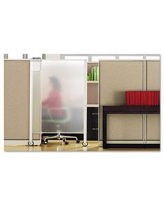 QRTWPS2000 PREMIUM WORKSTATION PRIVACY SCREEN, 38W X 64D, TRANSLUCENT CLEAR/SILVER
