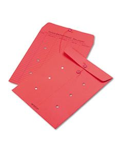 QUA63574 COLORED PAPER STRING & BUTTON INTEROFFICE ENVELOPE, #97, ONE-SIDED FIVE-COLUMN FORMAT, 10 X 13, RED, 100/BOX