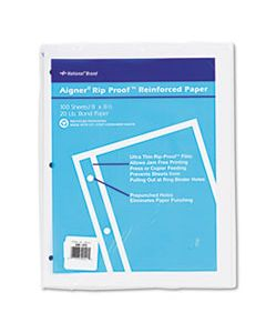 RED20121 RIP PROOF REINFORCED FILLER PAPER, 3-HOLE, 8.5 X 11, UNRULED, 100/PACK