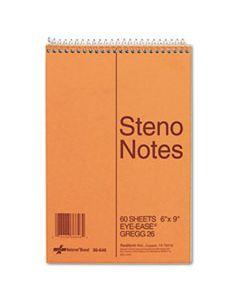 RED36646 STANDARD SPIRAL STENO BOOK, GREGG RULE, 6 X 9, EYE-EASE GREEN, 60 SHEETS