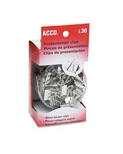 ACC71138 PRESENTATION CLIPS, ASSORTED SIZES, SILVER, 30/BOX