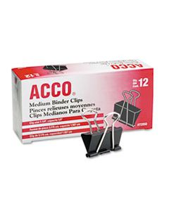 ACC72050 BINDER CLIPS, MEDIUM, BLACK/SILVER, DOZEN