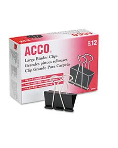 ACC72100 BINDER CLIPS, LARGE, BLACK/SILVER, DOZEN